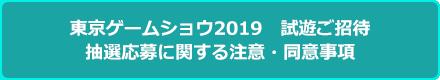 東京ゲームショウ2019 優先試遊ご招待 抽選応募に関する注意・同意事項